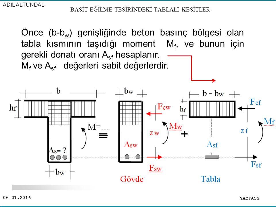 06.01.2016 SAYFA52 ADİL ALTUNDAL BASİT EĞİLME TESİRİNDEKİ TABLALI KESİTLER Önce (b-b w ) genişliğinde beton basınç bölgesi olan tabla kısmının taşıdığ