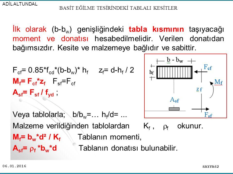 06.01.2016 İlk olarak (b-b w ) genişliğindeki tabla kısmının taşıyacağı moment ve donatısı hesabedilmelidir. Verilen donatıdan bağımsızdır. Kesite ve