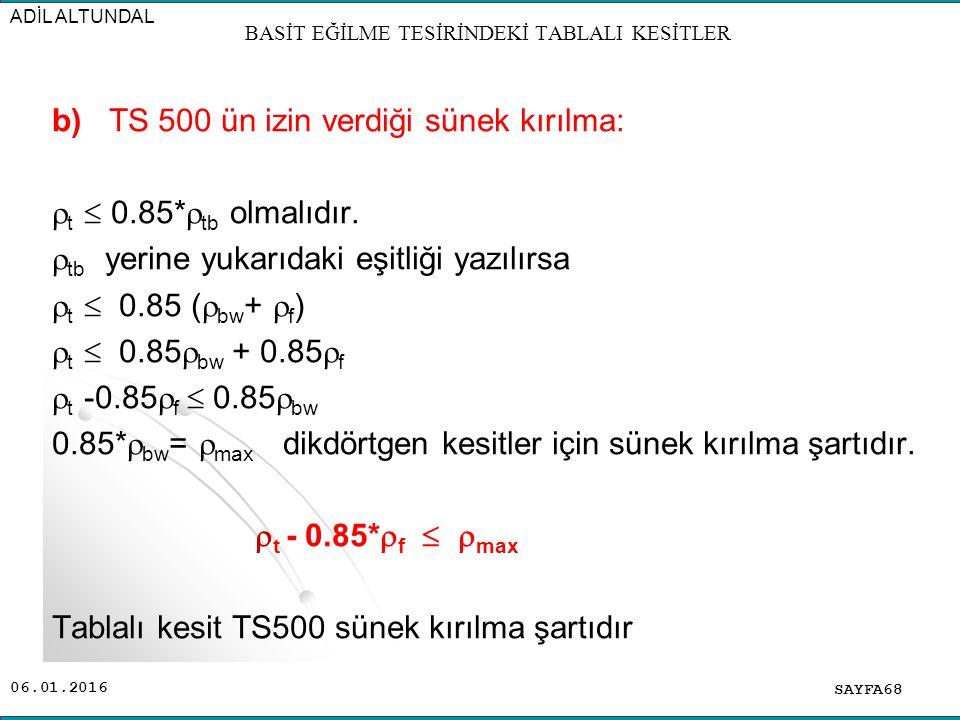 06.01.2016 b) TS 500 ün izin verdiği sünek kırılma:  t  0.85*  tb olmalıdır.  tb yerine yukarıdaki eşitliği yazılırsa  t  0.85 (  bw +  f ) 