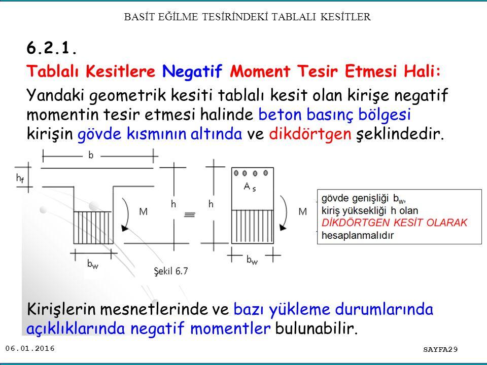 06.01.2016 6.2.1. Tablalı Kesitlere Negatif Moment Tesir Etmesi Hali: Yandaki geometrik kesiti tablalı kesit olan kirişe negatif momentin tesir etmesi