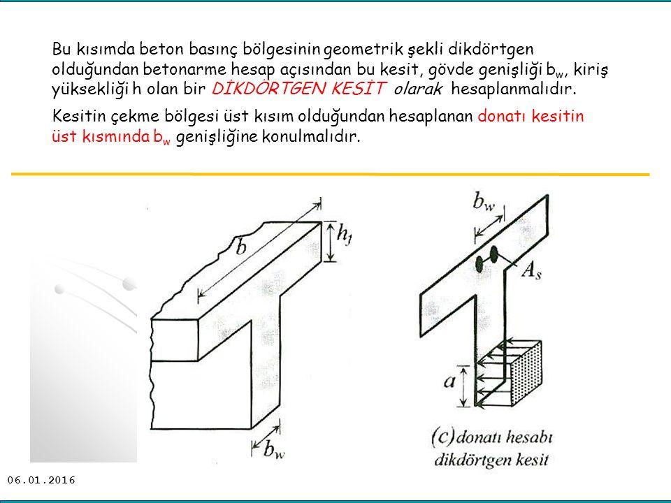06.01.2016 Bu kısımda beton basınç bölgesinin geometrik şekli dikdörtgen olduğundan betonarme hesap açısından bu kesit, gövde genişliği b w, kiriş yük