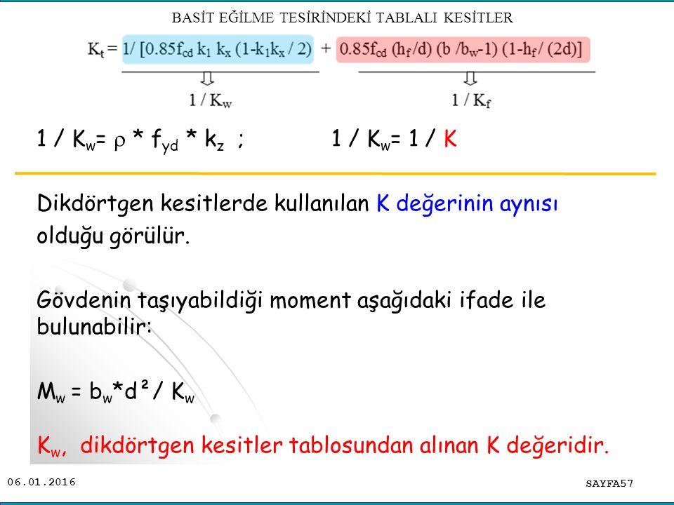 06.01.2016 1 / K w =  * f yd * k z ; 1 / K w = 1 / K Dikdörtgen kesitlerde kullanılan K değerinin aynısı olduğu görülür. Gövdenin taşıyabildiği momen