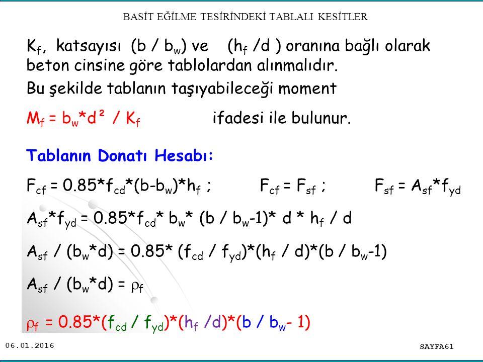 K f, katsayısı (b / b w ) ve (h f /d ) oranına bağlı olarak beton cinsine göre tablolardan alınmalıdır. Bu şekilde tablanın taşıyabileceği moment M f