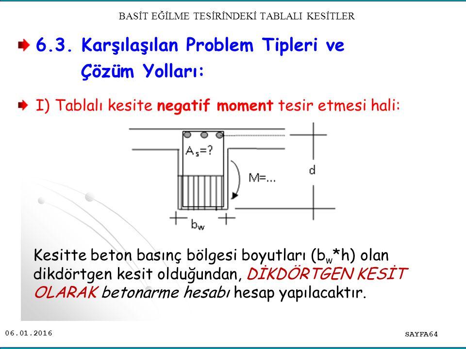 6.3. Karşılaşılan Problem Tipleri ve Çözüm Yolları: I) Tablalı kesite negatif moment tesir etmesi hali: SAYFA64 BASİT EĞİLME TESİRİNDEKİ TABLALI KESİT