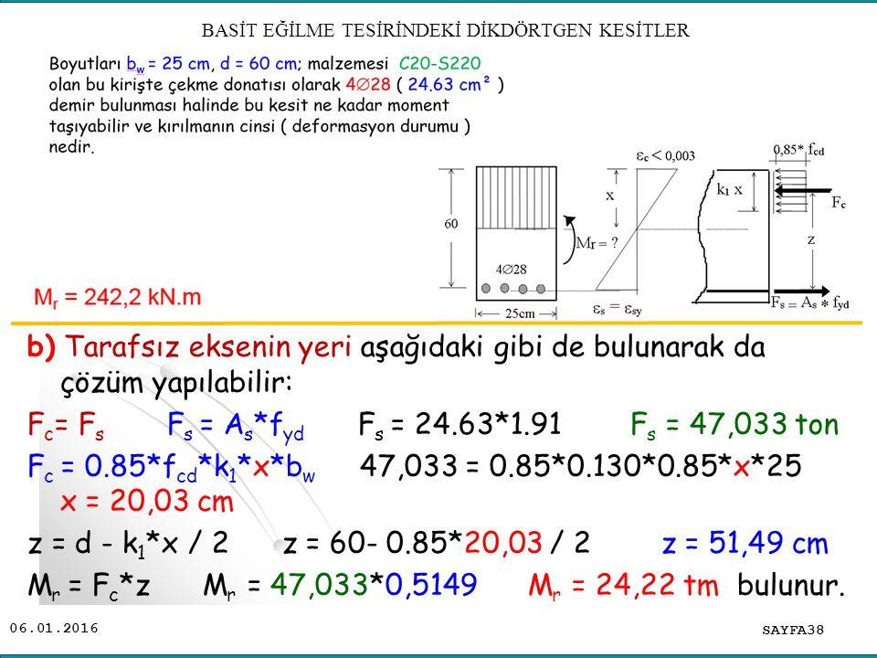 06.01.2016 b) Tarafsız eksenin yeri aşağıdaki gibi de bulunarak da çözüm yapılabilir: F c = F s F s = A s *f yd F s = 24.63*1.91 F s = 47,033 ton F c