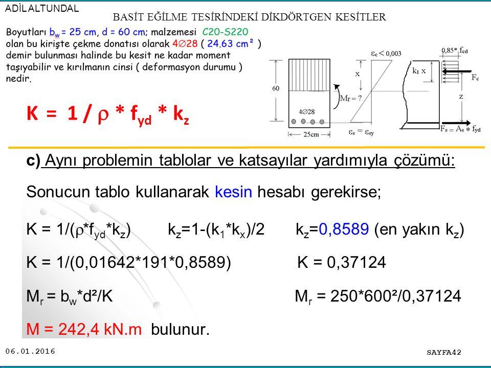 06.01.2016 c) Aynı problemin tablolar ve katsayılar yardımıyla çözümü: Sonucun tablo kullanarak kesin hesabı gerekirse; K = 1/(  *f yd *k z ) k z =1-
