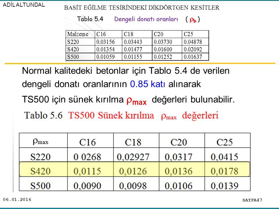 06.01.2016 Normal kalitedeki betonlar için Tablo 5.4 de verilen dengeli donatı oranlarının 0.85 katı alınarak TS500 için sünek kırılma  max değerleri