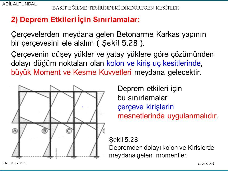 2) Deprem Etkileri İçin Sınırlamalar: Çerçevelerden meydana gelen Betonarme Karkas yapının bir çerçevesini ele alalım ( Şekil 5.28 ). Çerçevenin düşey