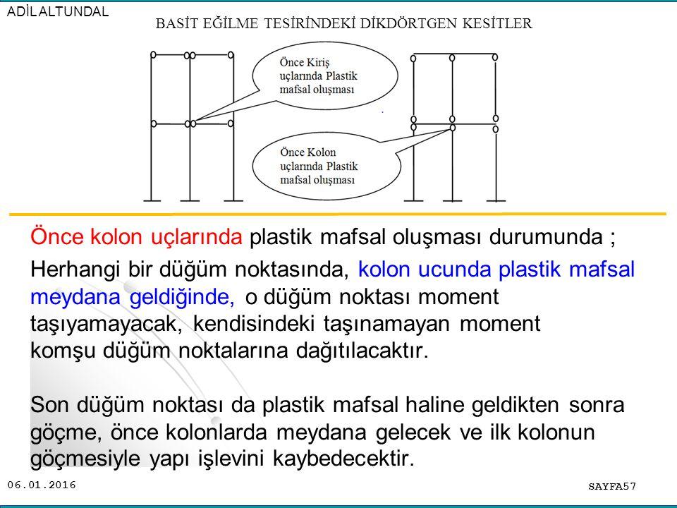 06.01.2016 Önce kolon uçlarında plastik mafsal oluşması durumunda ; Herhangi bir düğüm noktasında, kolon ucunda plastik mafsal meydana geldiğinde, o d
