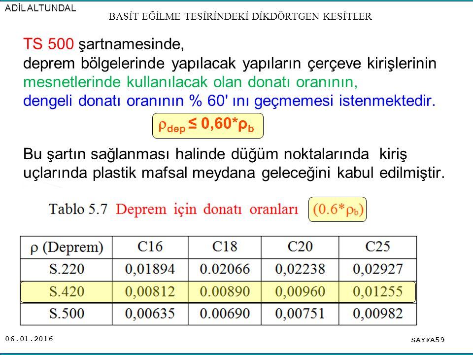 06.01.2016 TS 500 şartnamesinde, deprem bölgelerinde yapılacak yapıların çerçeve kirişlerinin mesnetlerinde kullanılacak olan donatı oranının, dengeli