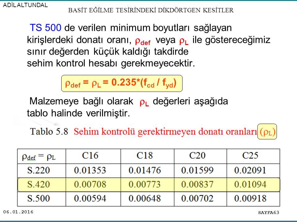 06.01.2016 TS 500 de verilen minimum boyutları sağlayan kirişlerdeki donatı oranı,  def veya  L ile göstereceğimiz sınır değerden küçük kaldığı takd