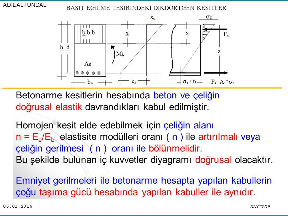06.01.2016 Betonarme kesitlerin hesabında beton ve çeliğin doğrusal elastik davrandıkları kabul edilmiştir. Homojen kesit elde edebilmek için çeliğin
