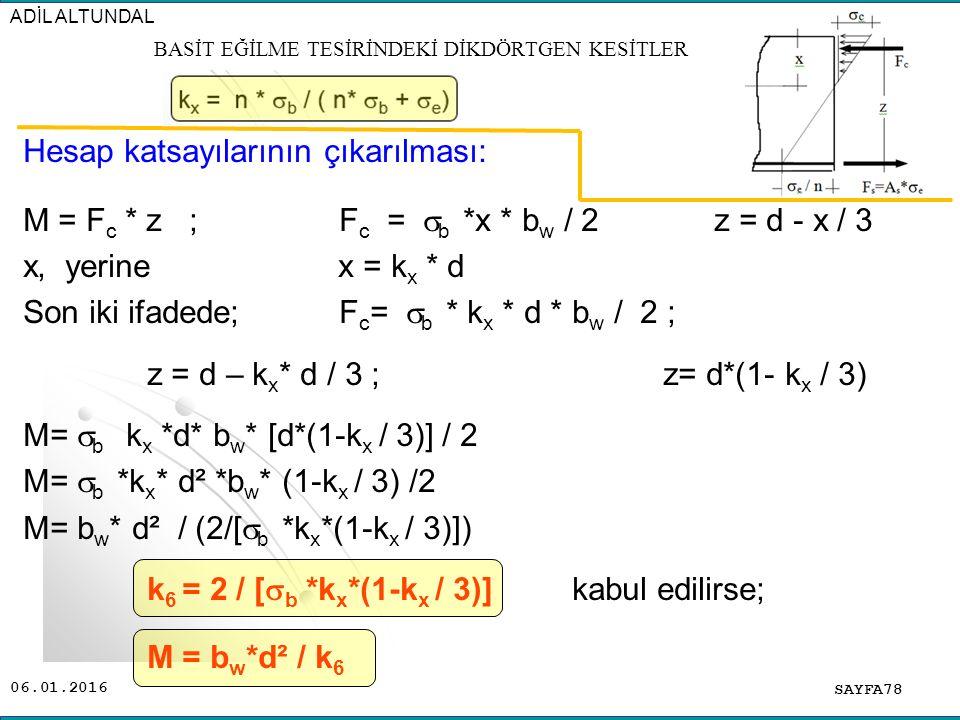 06.01.2016 Hesap katsayılarının çıkarılması: M = F c * z ; F c =  b *x * b w / 2 z = d - x / 3 x, yerine x = k x * d Son iki ifadede; F c =  b * k x
