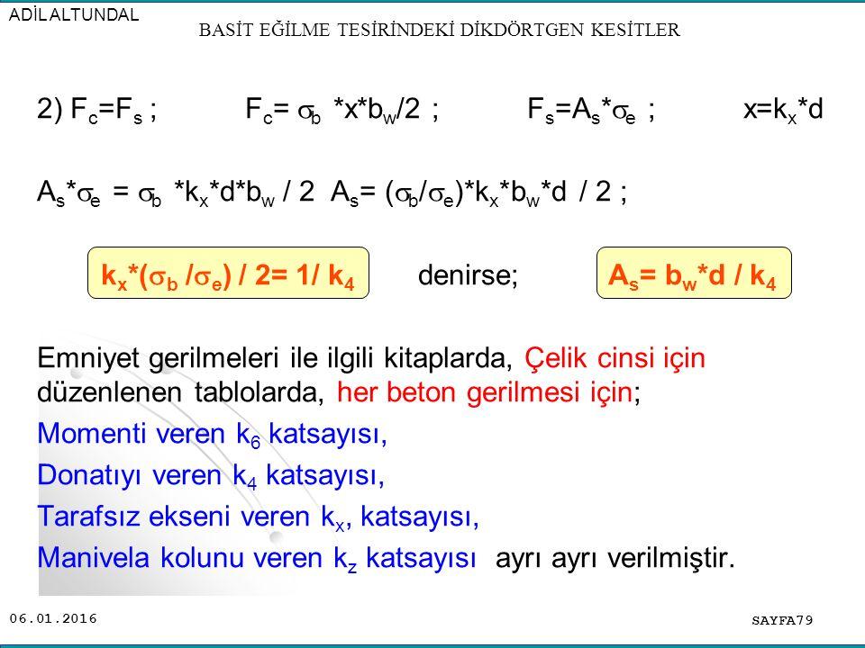 06.01.2016 2) F c =F s ; F c =  b *x*b w /2 ; F s =A s *  e ; x=k x *d A s *  e =  b *k x *d*b w / 2 A s = (  b /  e )*k x *b w *d / 2 ; k x *(