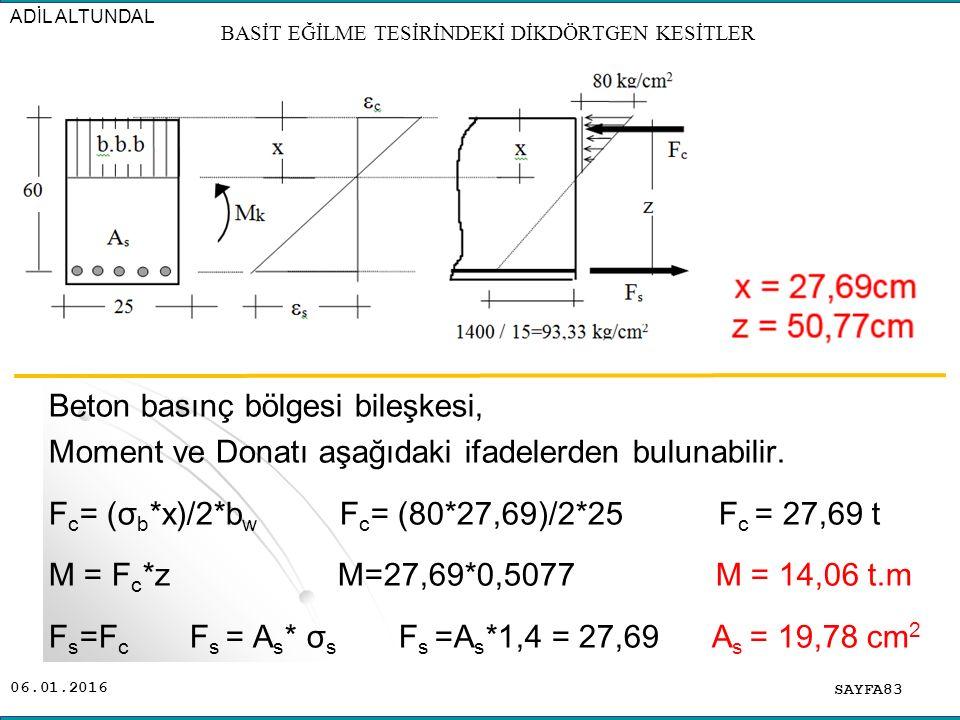 06.01.2016 Beton basınç bölgesi bileşkesi, Moment ve Donatı aşağıdaki ifadelerden bulunabilir. F c = (σ b *x)/2*b w F c = (80*27,69)/2*25 F c = 27,69