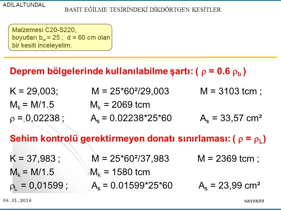 06.01.2016 SAYFA88 ADİL ALTUNDAL BASİT EĞİLME TESİRİNDEKİ DİKDÖRTGEN KESİTLER Deprem bölgelerinde kullanılabilme şartı: (  = 0.6  b ) K = 29,003; M