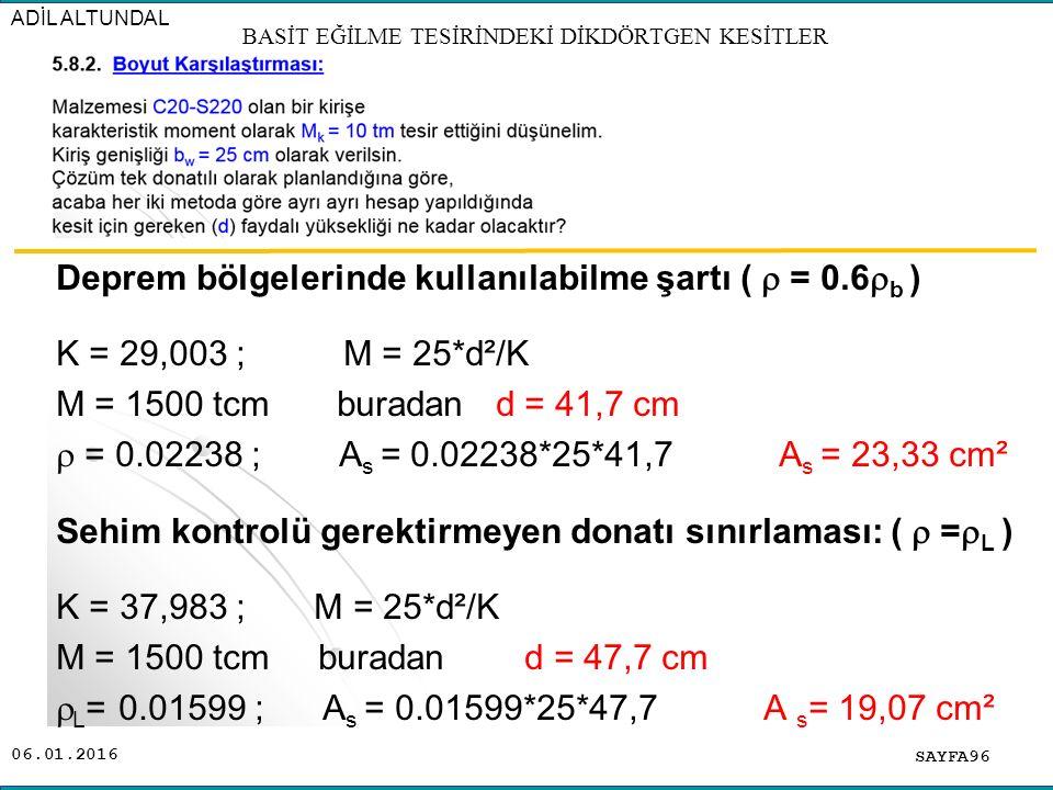 06.01.2016 Deprem bölgelerinde kullanılabilme şartı (  = 0.6  b ) K = 29,003 ; M = 25*d²/K M = 1500 tcm buradan d = 41,7 cm  = 0.02238 ; A s = 0.02