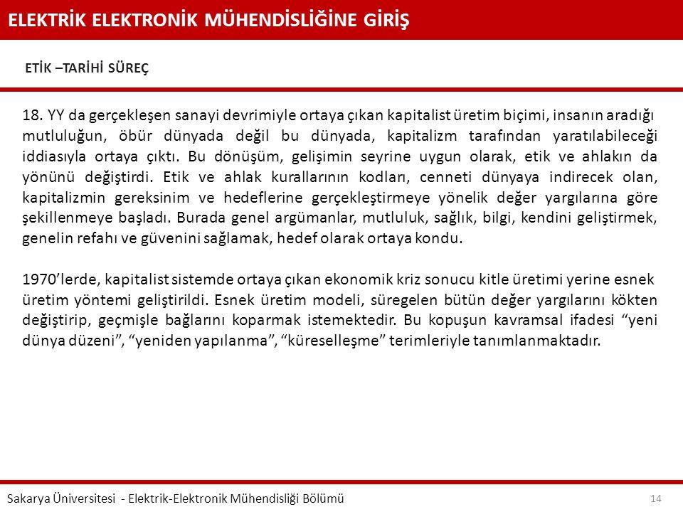 ELEKTRİK ELEKTRONİK MÜHENDİSLİĞİNE GİRİŞ ETİK –TARİHİ SÜREÇ Sakarya Üniversitesi - Elektrik-Elektronik Mühendisliği Bölümü 14 18. YY da gerçekleşen sa