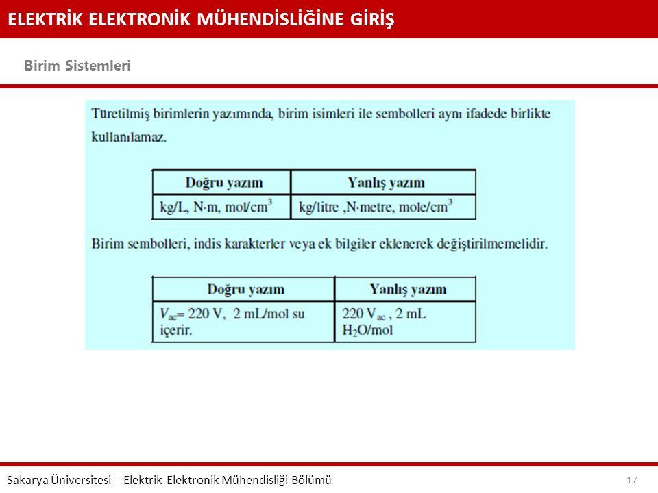 ELEKTRİK ELEKTRONİK MÜHENDİSLİĞİNE GİRİŞ Birim Sistemleri Sakarya Üniversitesi - Elektrik-Elektronik Mühendisliği Bölümü 17