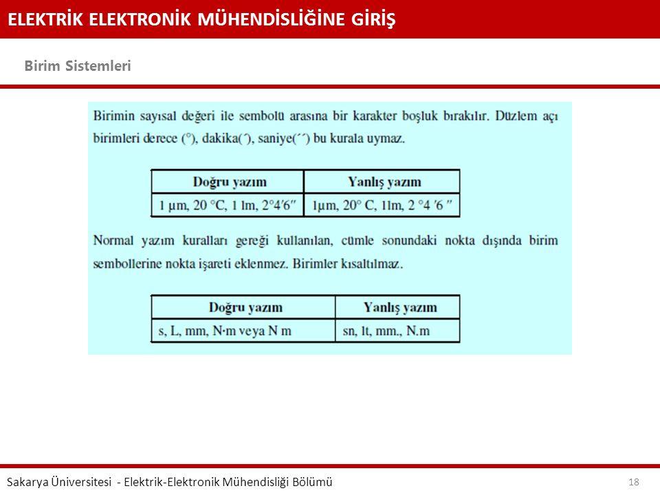 ELEKTRİK ELEKTRONİK MÜHENDİSLİĞİNE GİRİŞ Birim Sistemleri Sakarya Üniversitesi - Elektrik-Elektronik Mühendisliği Bölümü 18