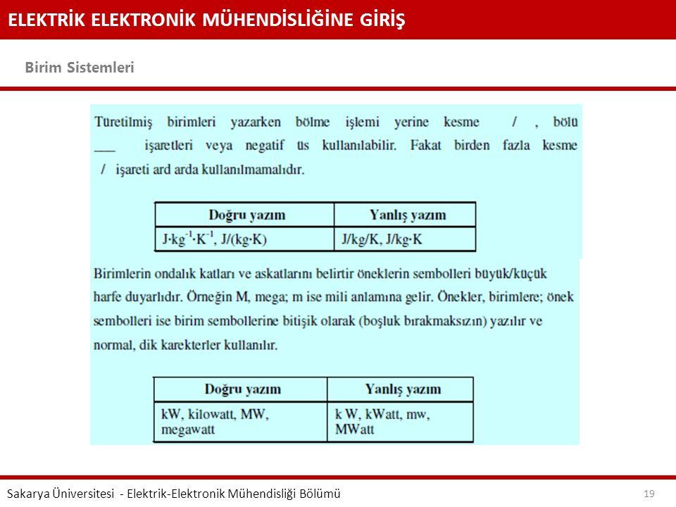 ELEKTRİK ELEKTRONİK MÜHENDİSLİĞİNE GİRİŞ Birim Sistemleri Sakarya Üniversitesi - Elektrik-Elektronik Mühendisliği Bölümü 19