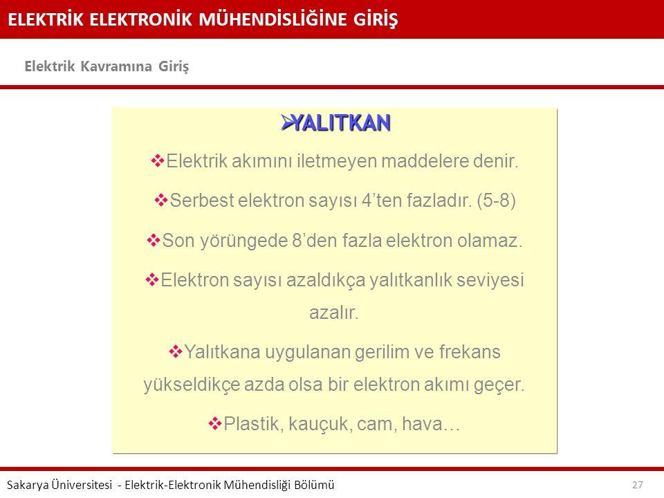 ELEKTRİK ELEKTRONİK MÜHENDİSLİĞİNE GİRİŞ Elektrik Kavramına Giriş Sakarya Üniversitesi - Elektrik-Elektronik Mühendisliği Bölümü 27  YALITKAN  Elekt
