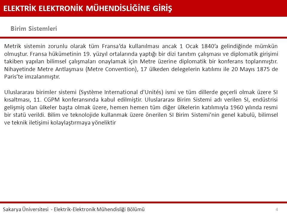 ELEKTRİK ELEKTRONİK MÜHENDİSLİĞİNE GİRİŞ Birim Sistemleri Sakarya Üniversitesi - Elektrik-Elektronik Mühendisliği Bölümü 4 Metrik sistemin zorunlu ola