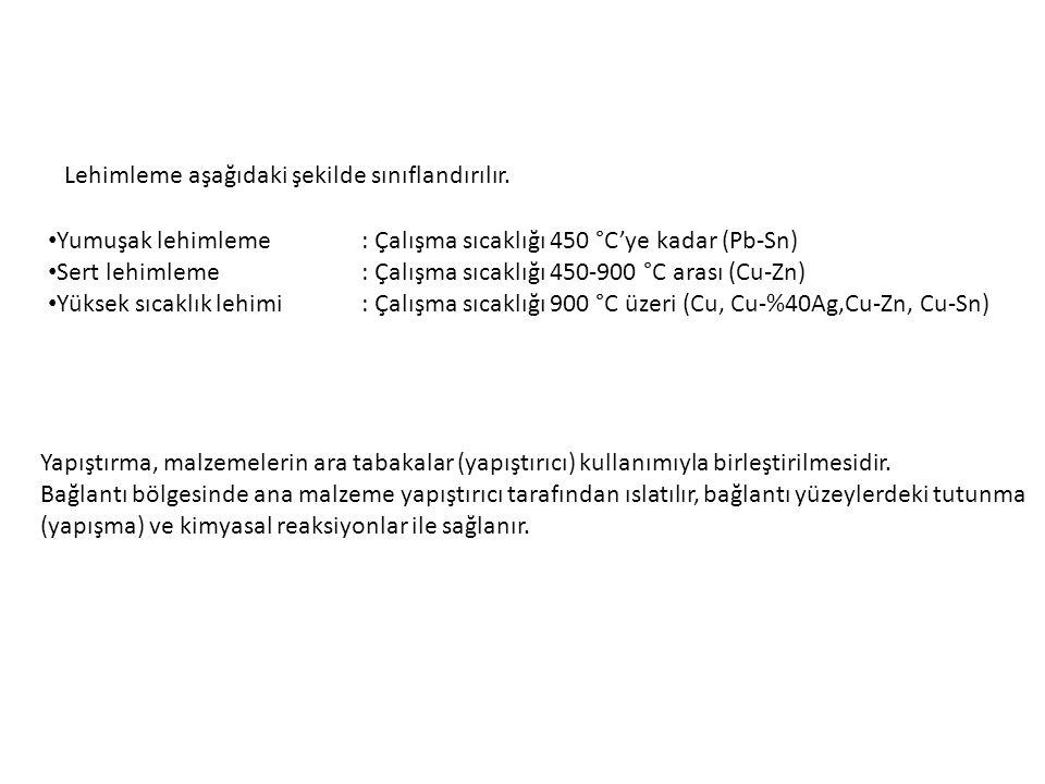 Lehimleme aşağıdaki şekilde sınıflandırılır. Yumuşak lehimleme: Çalışma sıcaklığı 450 °C'ye kadar (Pb-Sn) Sert lehimleme: Çalışma sıcaklığı 450-900 °C