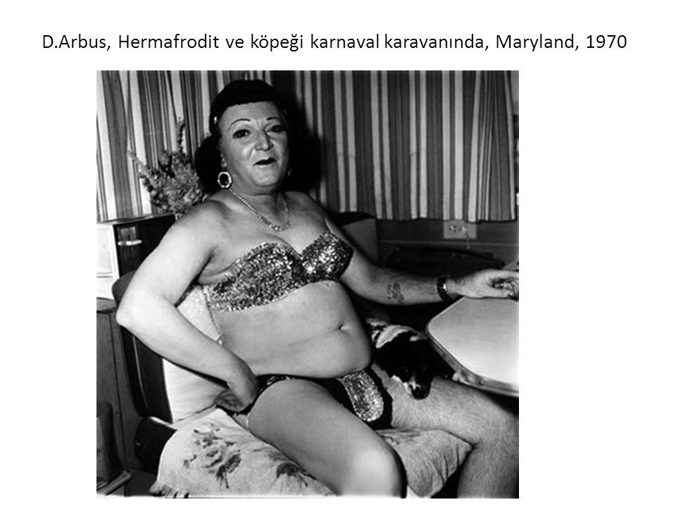 D.Arbus, Hermafrodit ve köpeği karnaval karavanında, Maryland, 1970