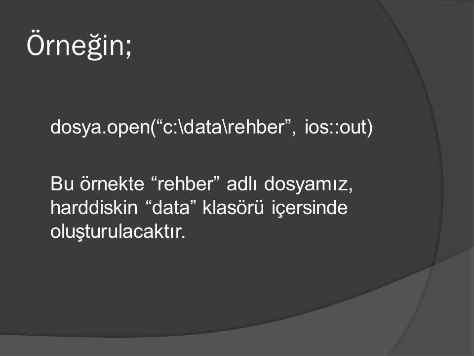 Örneğin; dosya.open( c:\data\rehber , ios::out) Bu örnekte rehber adlı dosyamız, harddiskin data klasörü içersinde oluşturulacaktır.