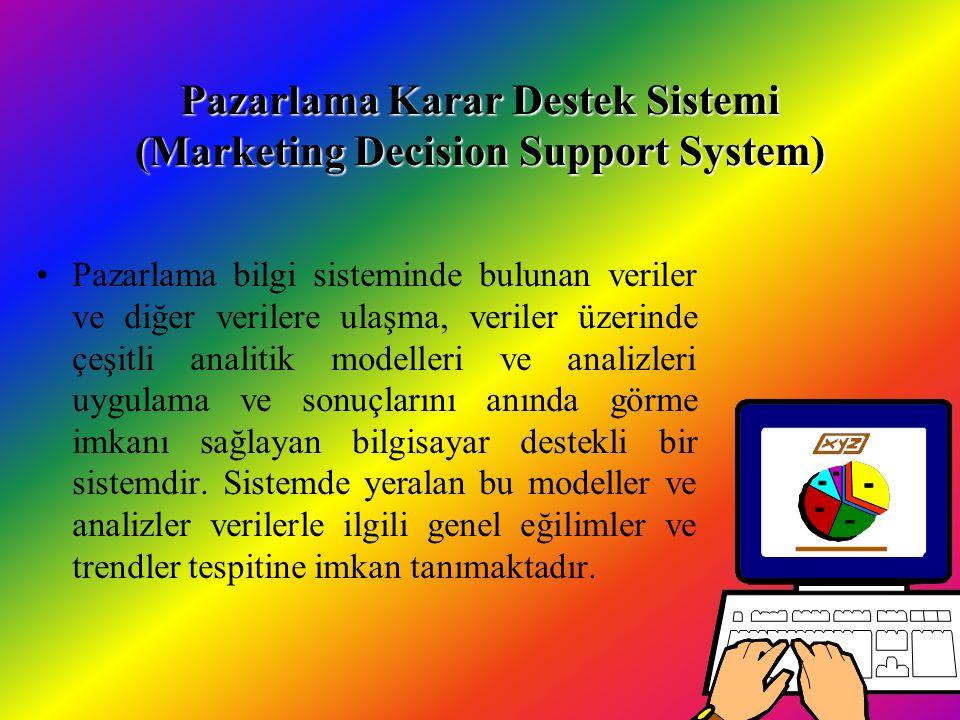 Pazarlama Karar Destek Sistemi (Marketing Decision Support System) Pazarlama bilgi sisteminde bulunan veriler ve diğer verilere ulaşma, veriler üzerinde çeşitli analitik modelleri ve analizleri uygulama ve sonuçlarını anında görme imkanı sağlayan bilgisayar destekli bir sistemdir.