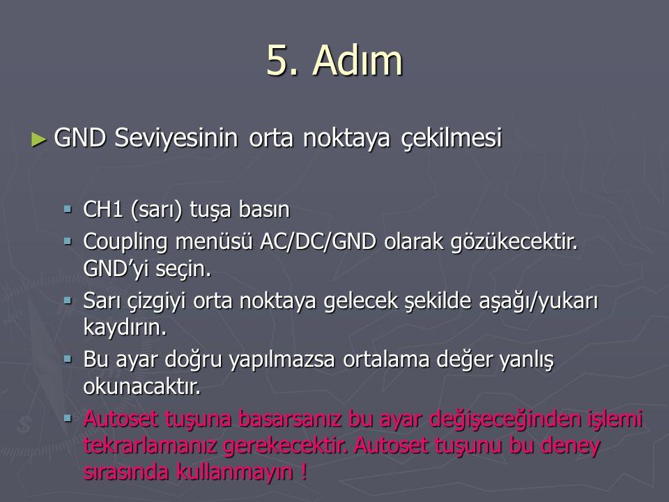 5. Adım ► GND Seviyesinin orta noktaya çekilmesi  CH1 (sarı) tuşa basın  Coupling menüsü AC/DC/GND olarak gözükecektir. GND'yi seçin.  Sarı çizgiyi