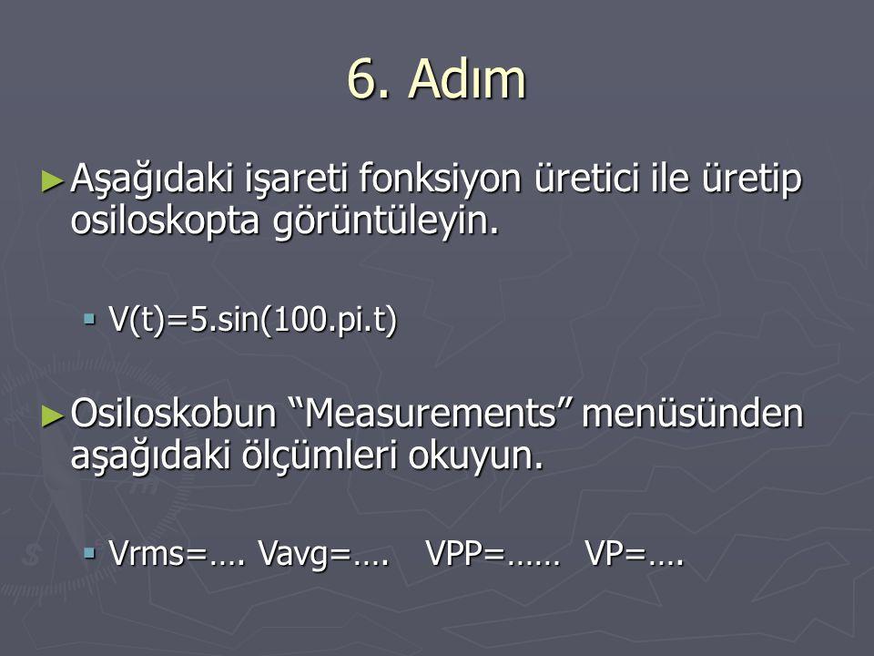 """6. Adım ► Aşağıdaki işareti fonksiyon üretici ile üretip osiloskopta görüntüleyin.  V(t)=5.sin(100.pi.t) ► Osiloskobun """"Measurements"""" menüsünden aşağ"""