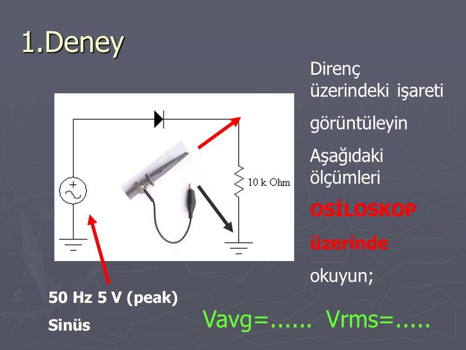 1.Deney Vavg=...... Vrms=..... Direnç üzerindeki işareti görüntüleyin Aşağıdaki ölçümleri OSİLOSKOP üzerinde okuyun; 50 Hz 5 V (peak) Sinüs