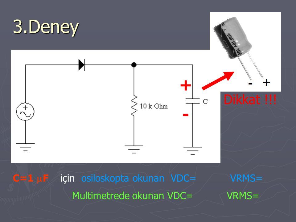 3.Deney C=1  F için osiloskopta okunan VDC= VRMS= Multimetrede okunan VDC= VRMS= Dikkat !!! +-+-