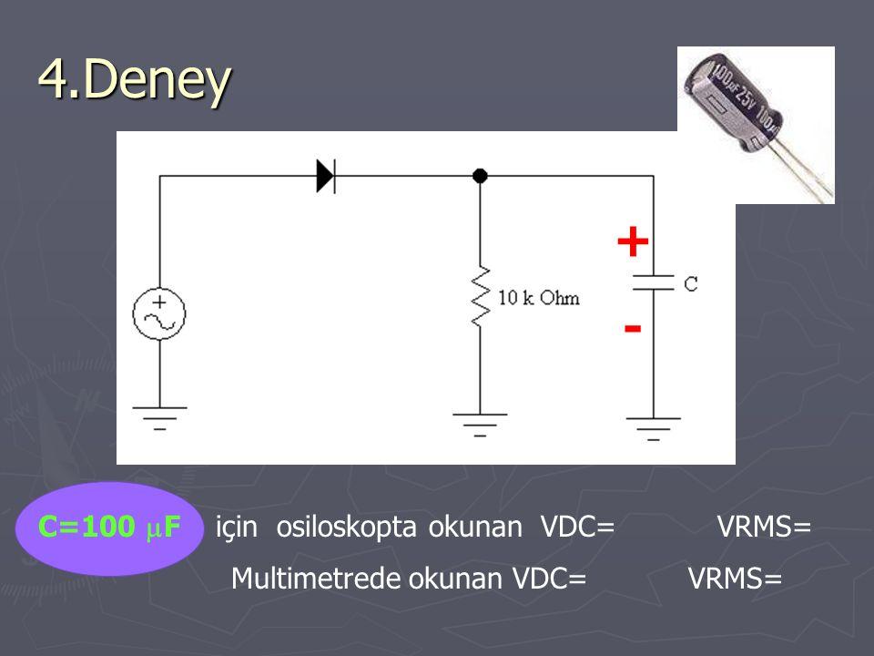 4.Deney C=100  F için osiloskopta okunan VDC= VRMS= Multimetrede okunan VDC= VRMS= +-+-