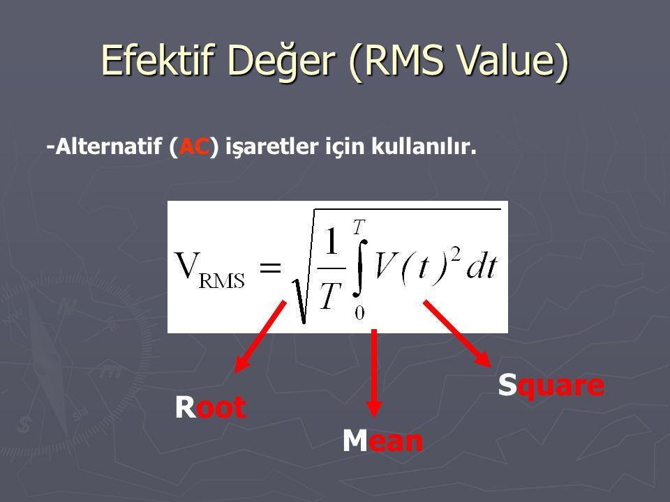 Efektif Değer (RMS Value) -Alternatif (AC) işaretler için kullanılır. Square Mean Root