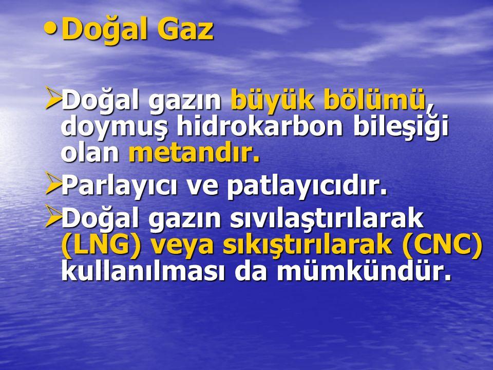 Doğal Gaz Doğal Gaz  Doğal gazın büyük bölümü, doymuş hidrokarbon bileşiği olan metandır.  Parlayıcı ve patlayıcıdır.  Doğal gazın sıvılaştırılarak