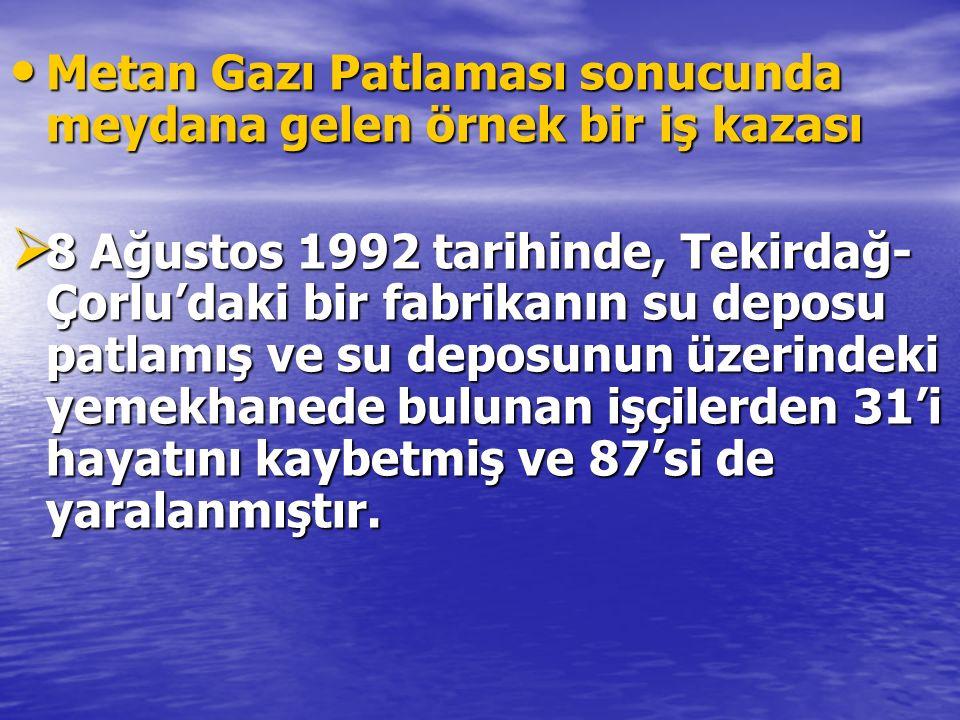 Metan Gazı Patlaması sonucunda meydana gelen örnek bir iş kazası Metan Gazı Patlaması sonucunda meydana gelen örnek bir iş kazası  8 Ağustos 1992 tar