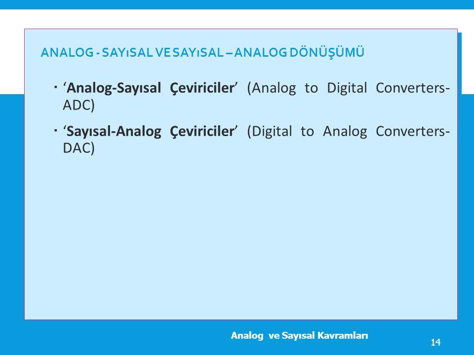 ANALOG - SAYıSAL VE SAYıSAL – ANALOG DÖNÜŞÜMÜ  'Analog-Sayısal Çeviriciler' (Analog to Digital Converters- ADC)  'Sayısal-Analog Çeviriciler' (Digit
