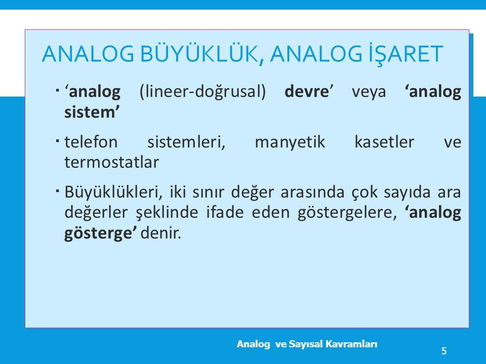 ANALOG BÜYÜKLÜK, ANALOG İŞARET, ANALOG GÖSTERGE VE ANALOG SİSTEM  Analog ve Sayısal Kavramları 6