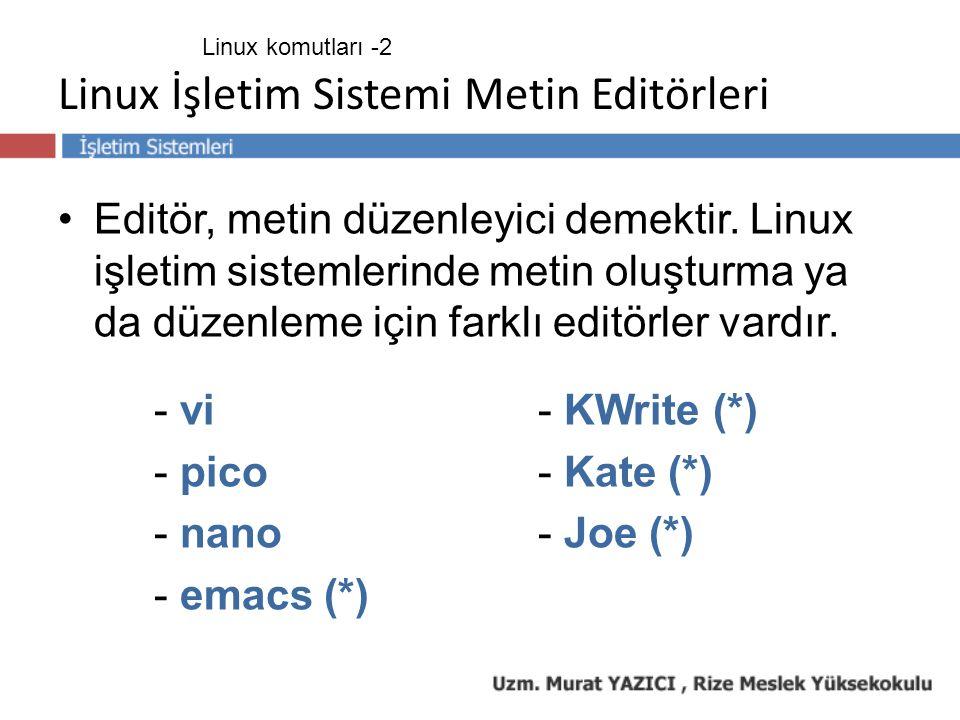 Linux İşletim Sistemi Metin Editörleri Editör, metin düzenleyici demektir. Linux işletim sistemlerinde metin oluşturma ya da düzenleme için farklı edi