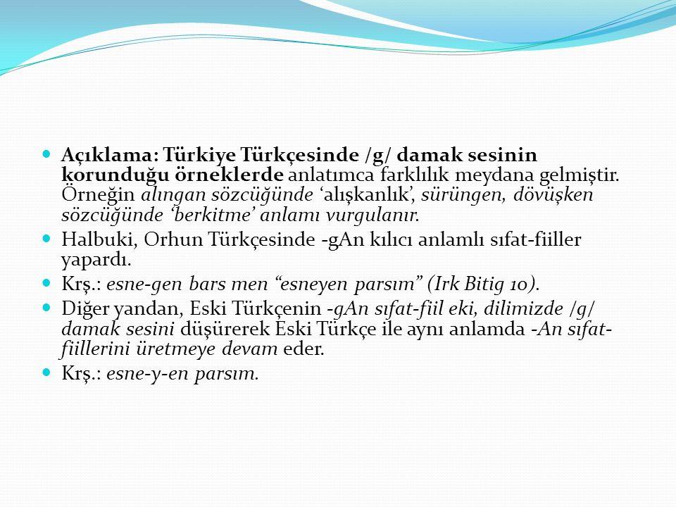 Açıklama: Türkiye Türkçesinde /g/ damak sesinin korunduğu örneklerde anlatımca farklılık meydana gelmiştir. Örneğin alıngan sözcüğünde 'alışkanlık', s