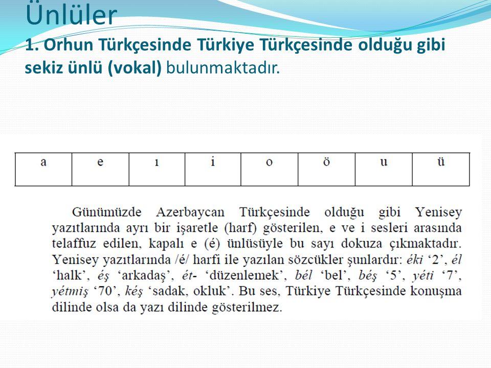 Açıklama: Bugün Türk lehçe ve yazı dillerinin pek çoğunda olduğu gibi Türkçe sözcüklerdeki söz başı /b/ ünsüzü, söz içinde kendisinden sonra gelen genizsil bir ünsüzün etkisiyle genizsileşerek /m/'ye dönüşür: men (KT, BK) 'ben' ~ ben (T), maŋa 'bana' (KT, BK) ~ baŋa (T).