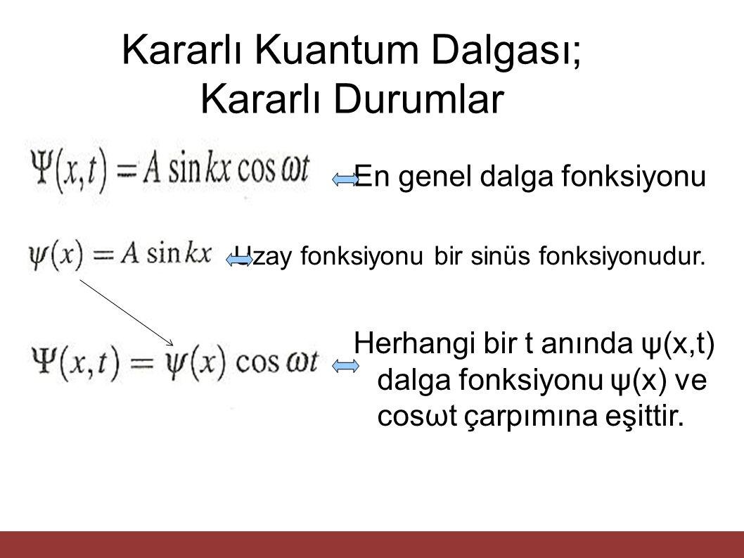 Kararlı Kuantum Dalgası; Kararlı Durumlar En genel dalga fonksiyonu Herhangi bir t anında ψ(x,t) dalga fonksiyonu ψ(x) ve cosωt çarpımına eşittir. Uza