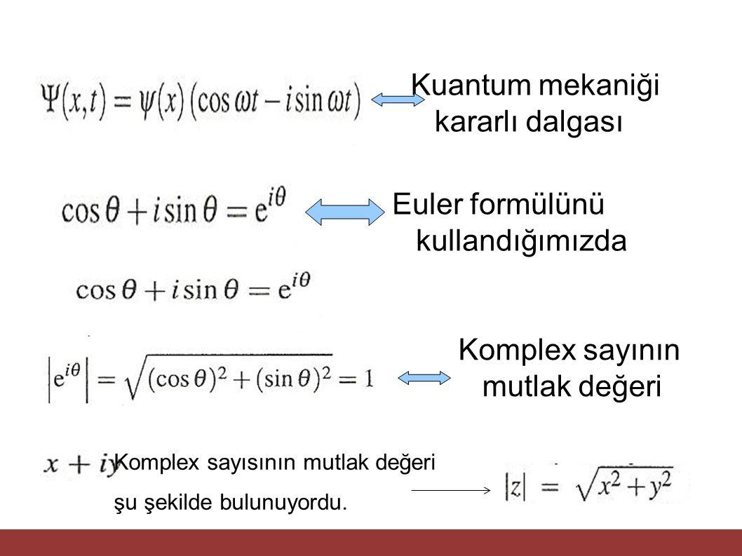 Kuantum mekaniği kararlı dalgası Euler formülünü kullandığımızda Komplex sayının mutlak değeri Komplex sayısının mutlak değeri şu şekilde bulunuyordu.
