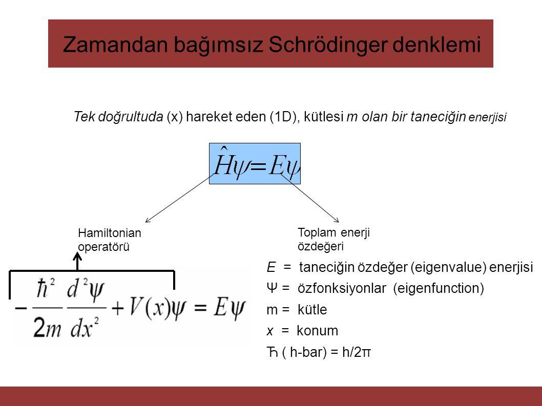 Zamandan bağımsız Schrödinger denklemi Hamiltonian operatörü Toplam enerji özdeğeri E = taneciğin özdeğer (eigenvalue) enerjisi Ψ = özfonksiyonlar (ei