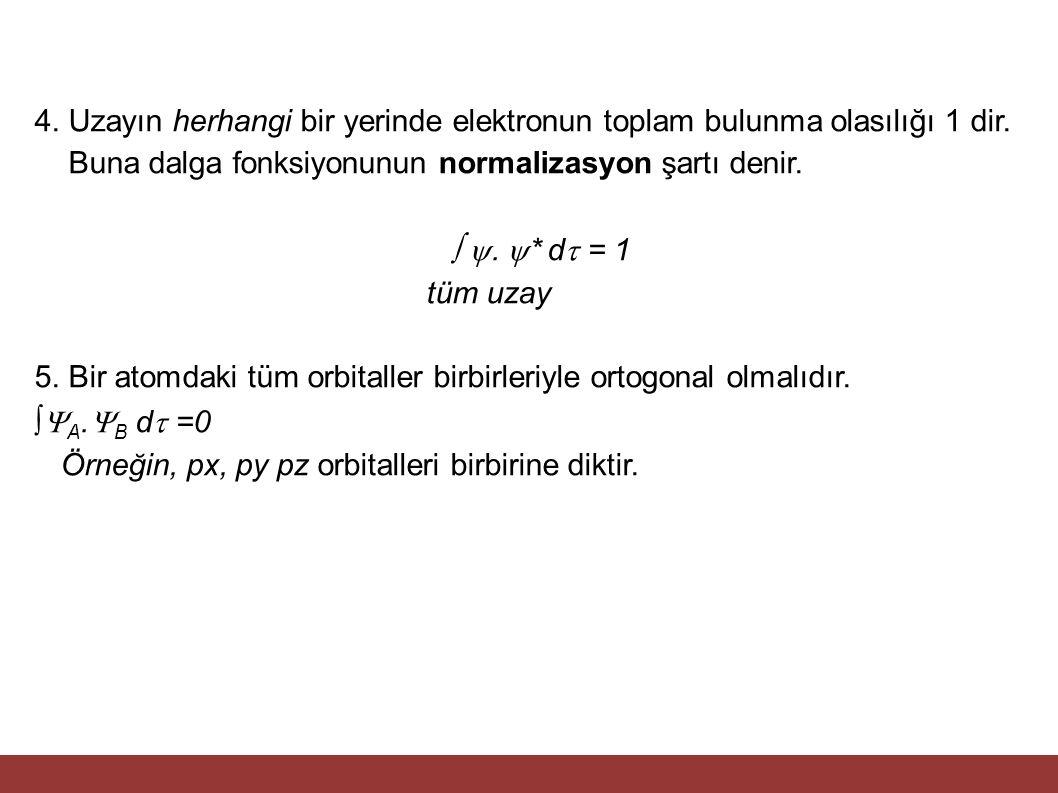 4. Uzayın herhangi bir yerinde elektronun toplam bulunma olasılığı 1 dir. Buna dalga fonksiyonunun normalizasyon şartı denir.  .  * d  = 1 tüm uza
