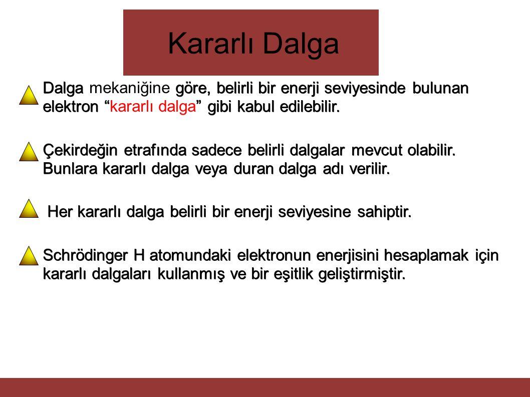 """Kararlı Dalga Dalga göre, belirli bir enerji seviyesinde bulunan elektron """""""" gibi kabul edilebilir. Dalga mekaniğine göre, belirli bir enerji seviyesi"""