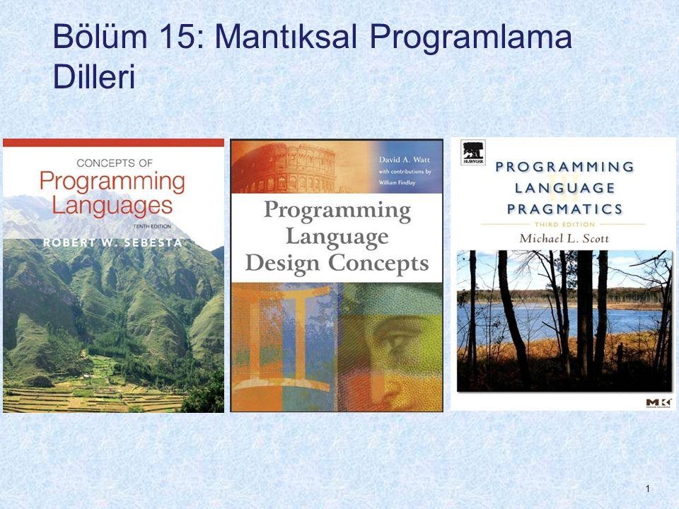 Bölüm 15 Konular Giriş Hüküm Hesabına (Predicate Calculus) Kısa bir Giriş Hüküm Hesabı (Predicate Calculus) ve Teorem İspatlama Mantık Programlamaya Genel Bakış Prolog'un Kökenleri Prolog'un temel elemanları Prolog'un eksikleri Mantık programlama uygulamaları 2